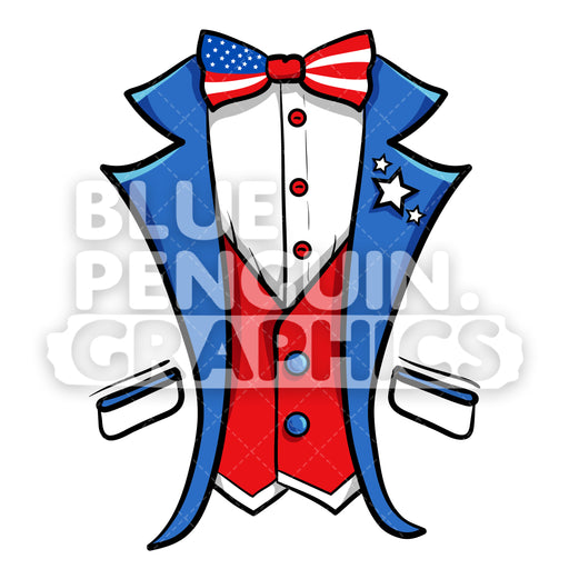 USA Independence Day Costume Suit Shirt Vector Clipart - Blue Penguin Graphics