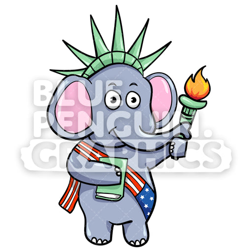 USA Republican Elephant Vector Cartoon Clipart Illustration - Blue Penguin Graphics