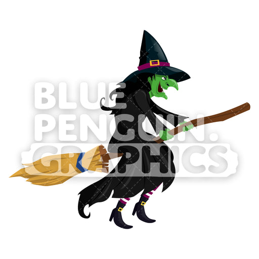 Ugly Witch On Broom Vector Cartoon Clipart Illustration - Blue Penguin Graphics