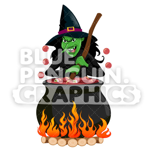 Ugly Witch With Pot Vector Cartoon Clipart Illustration - Blue Penguin Graphics