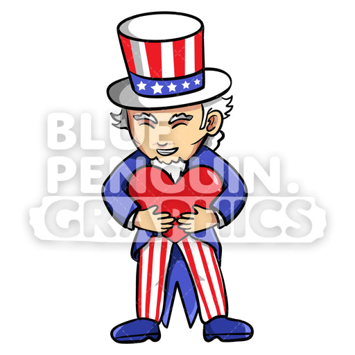 Uncle Sam Bringing a Red Heart Vector Cartoon Clipart Illustration - Blue Penguin Graphics