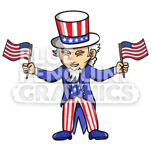 Uncle Sam Bringing an USA Flag Vector Cartoon Clipart Illustration - Blue Penguin Graphics