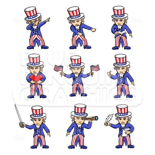 Uncle Sam Bundle Set Vector Cartoon Clipart Illustration - Blue Penguin Graphics