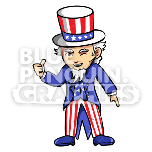 Uncle Sam Giving a Thumbs Up Vector Cartoon Clipart Illustration - Blue Penguin Graphics