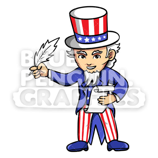 Uncle Sam Writing on a Paper Vector Cartoon Clipart Illustration - Blue Penguin Graphics