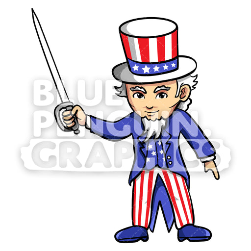 Uncle Sam with a Sword Vector Cartoon Clipart Illustration - Blue Penguin Graphics