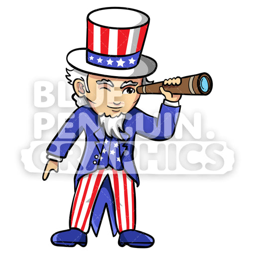 Uncle Sam with an Old Telescope Vector Cartoon Clipart Illustration - Blue Penguin Graphics