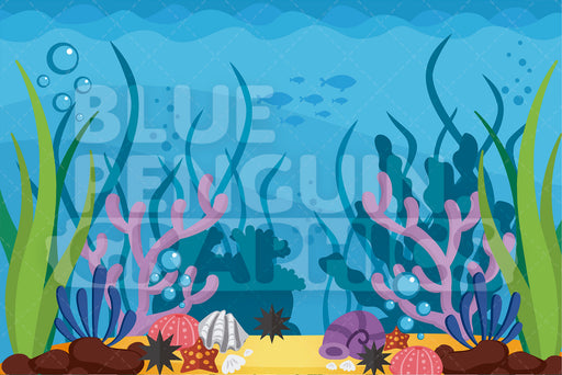 Under The Sea Graphic Background Clipart - Blue Penguin Graphics