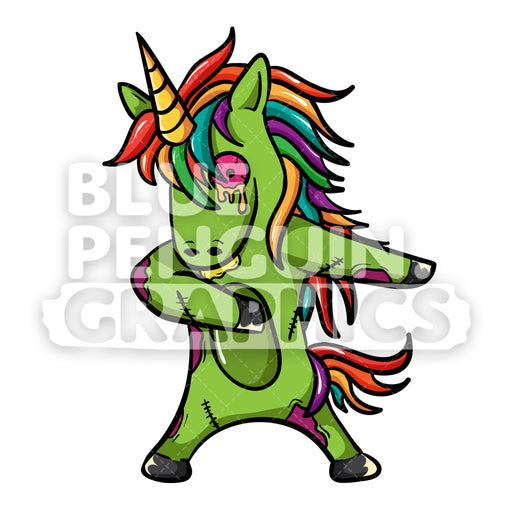 Unicorn Zombie Floss Dance Vector Cartoon Clipart Illustration - Blue Penguin Graphics