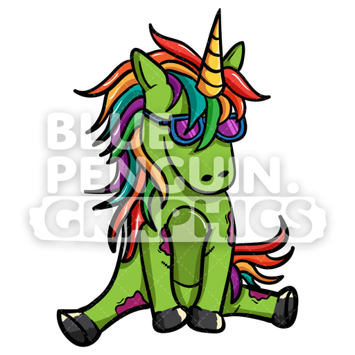 Unicorn Zombie Sitting Vector Cartoon Clipart Illustration - Blue Penguin Graphics