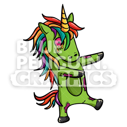 Unicorn Zombie Walking Vector Cartoon Clipart Illustration - Blue Penguin Graphics