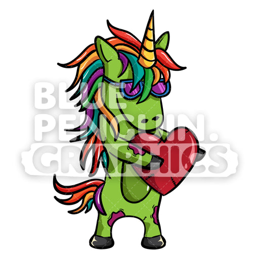 Unicorn Zombie Hug A Red Heart Vector Cartoon Clipart Illustration - Blue Penguin Graphics