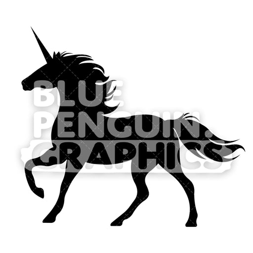 Unicorn From Left Side Silhouettes Vector Cartoon Clipart Illustration - Blue Penguin Graphics