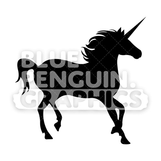 Unicorn From Right Side Silhouettes Vector Cartoon Clipart Illustration - Blue Penguin Graphics