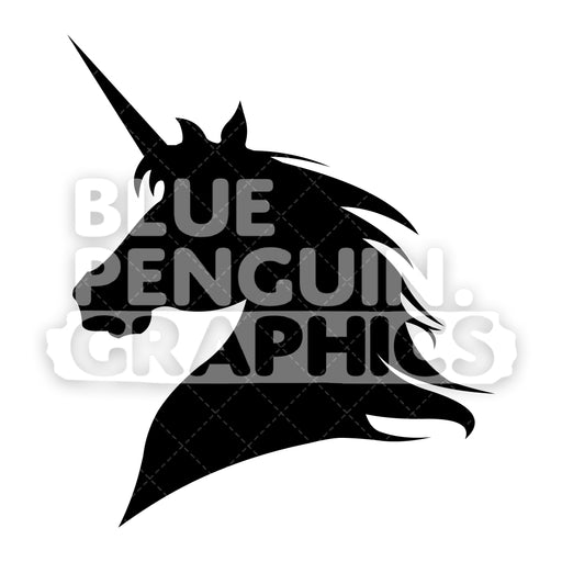 Unicorn Head From Left Side Silhouettes Vector Cartoon Clipart Illustration - Blue Penguin Graphics