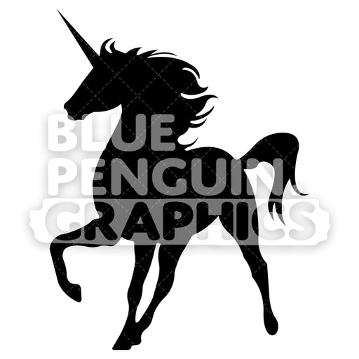 Walking Unicorn From Left Side Silhouettes Vector Cartoon Clipart Illustration - Blue Penguin Graphics