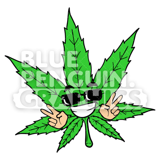 Weed Leaf with a Joyful Expression Vector Cartoon Clipart Illustration - Blue Penguin Graphics