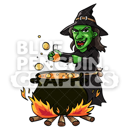 Witch With Pot Vector Cartoon Clipart Illustration - Blue Penguin Graphics