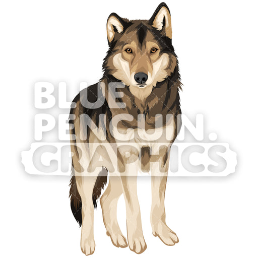 Wolf Version 1 Vector Clipart Illustration - Blue Penguin Graphics