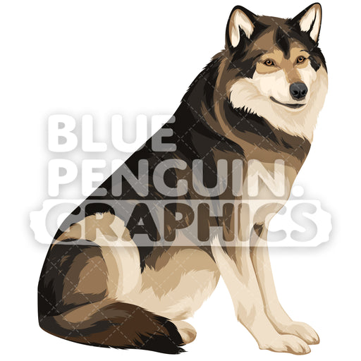 Wolf Version 4 Vector Clipart Illustration - Blue Penguin Graphics