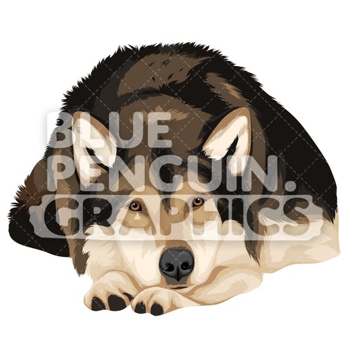 Wolf Version 5 Vector Clipart Illustration - Blue Penguin Graphics