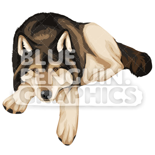 Wolf Version 9 Vector Clipart Illustration - Blue Penguin Graphics