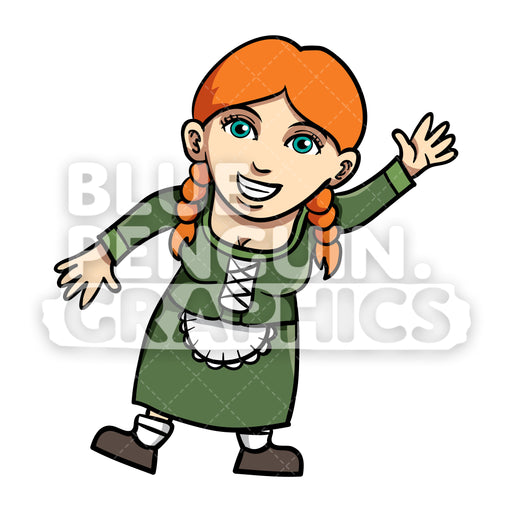 Woman Celebrate Oktoberfest Vector Cartoon Clipart Illustration - Blue Penguin Graphics