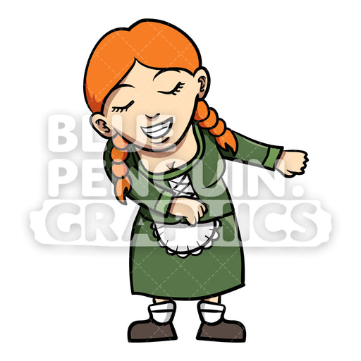 Woman celebrate Oktoberfest with Flossing Vector Cartoon Clipart Illustration - Blue Penguin Graphics