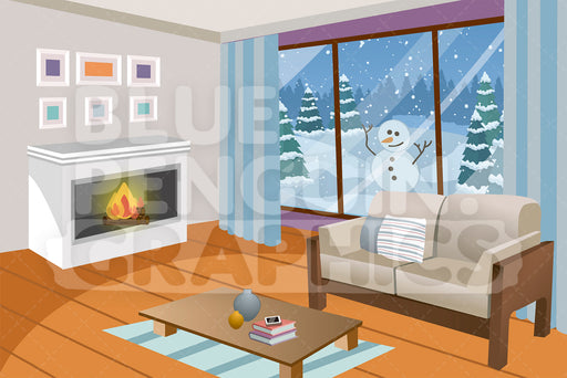 Fireplace in Living Room with Snow Outside Graphic Background Clipart - Blue Penguin Graphics