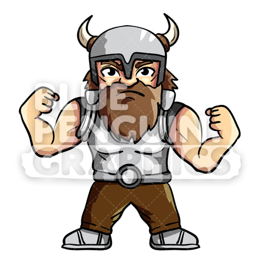 Aric Cool Viking Showing Off Vector Cartoon Clipart Illustration - Blue Penguin Graphics