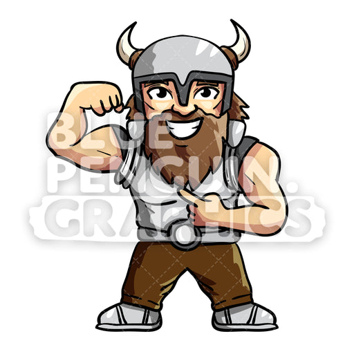 Aric Cool Viking Face Vector Cartoon Clipart Illustration - Blue Penguin Graphics