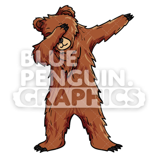 Bear Dabbing Vector Cartoon Clipart Illustration - Blue Penguin Graphics