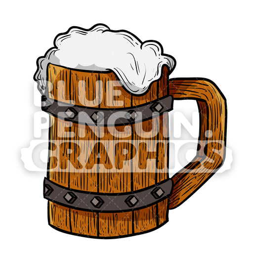 Beer Wood Cup Vector Cartoon Clipart Illustration - Blue Penguin Graphics