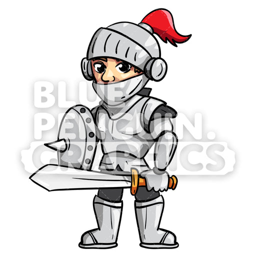 Borg Cool Knight Vector Cartoon Clipart Illustration - Blue Penguin Graphics