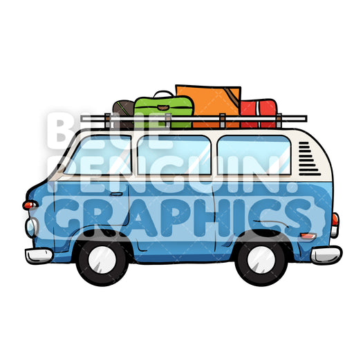 Camper Van Vector Cartoon Clipart Illustration - Blue Penguin Graphics