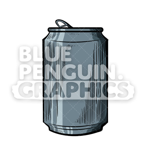 Can Vector Cartoon Clipart Illustration - Blue Penguin Graphics
