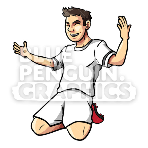 Celebrating Soccer Player Vector Cartoon Clipart Illustration - Blue Penguin Graphics