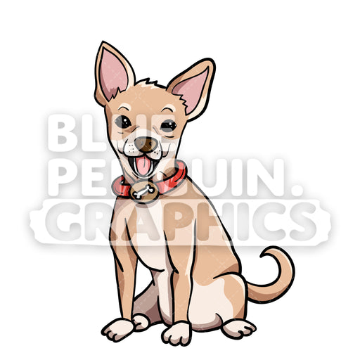 Chihuahua Sitting Vector Cartoon Clipart Illustration - Blue Penguin Graphics