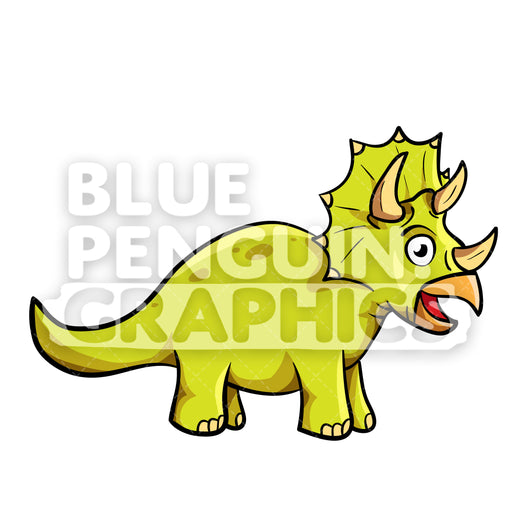 Cool Bright Green Dino Vector Cartoon Clipart Illustration - Blue Penguin Graphics