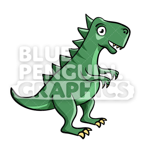 Cool Dark Green Dino Vector Cartoon Clipart Illustration - Blue Penguin Graphics