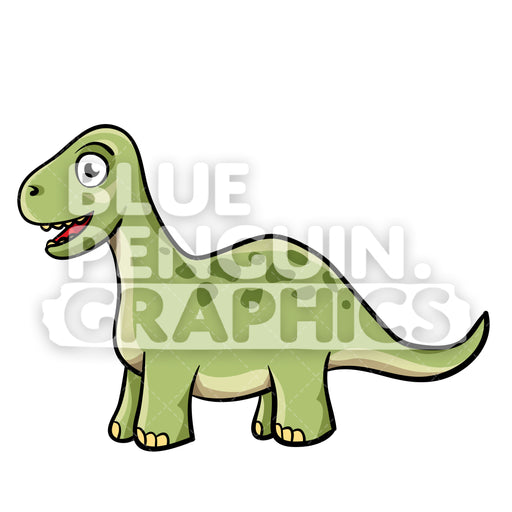 Cool Green Dino Vector Cartoon Clipart Illustration - Blue Penguin Graphics
