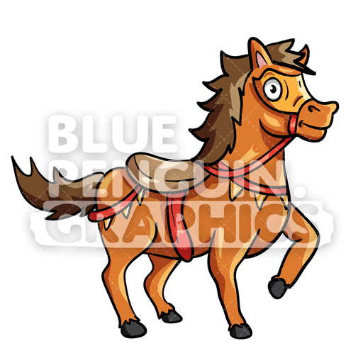Cool Horse Vector Cartoon Clipart Illustration - Blue Penguin Graphics