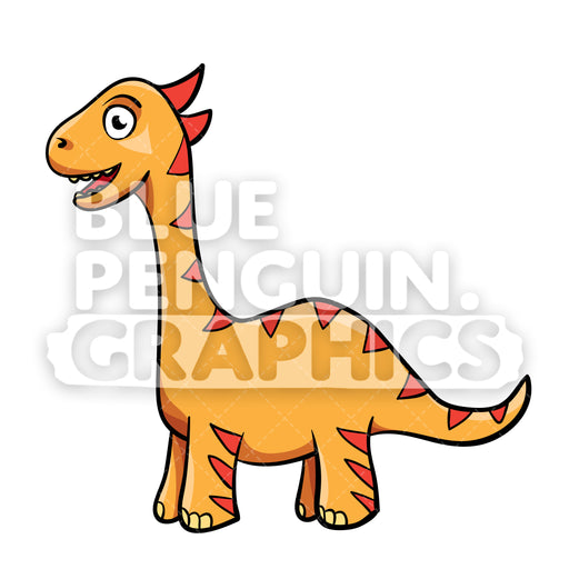 Cool Orange Dino Vector Cartoon Clipart Illustration - Blue Penguin Graphics
