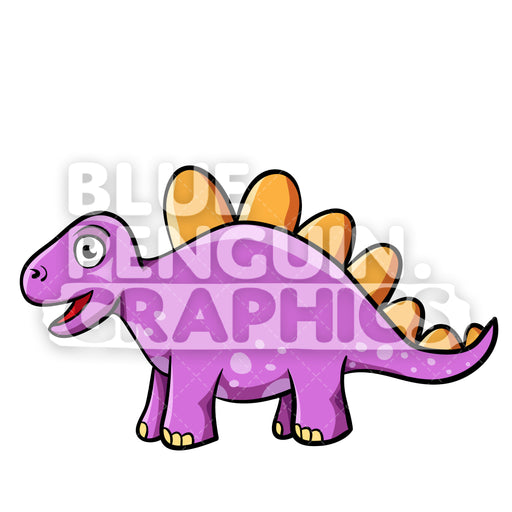 Cool Purple Dino Vector Cartoon Clipart Illustration - Blue Penguin Graphics