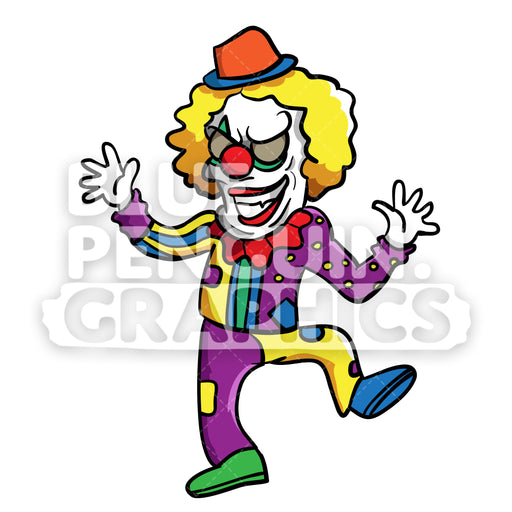 Crazy Clown Vector Cartoon Clipart Illustration - Blue Penguin Graphics