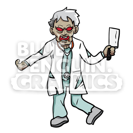 Crazy Doctor Zombie Vector Cartoon Clipart Illustration - Blue Penguin Graphics