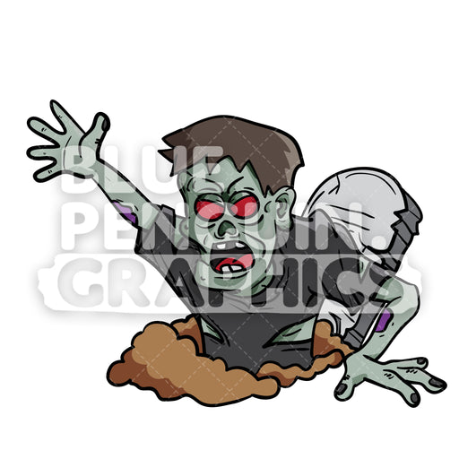 Crazy Zombie Grave Vector Cartoon Clipart Illustration - Blue Penguin Graphics