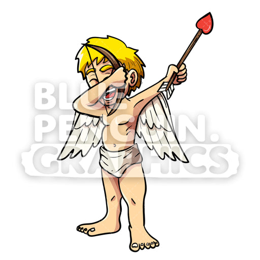 Cupid Dabbing Vector Cartoon Clipart Illustration - Blue Penguin Graphics