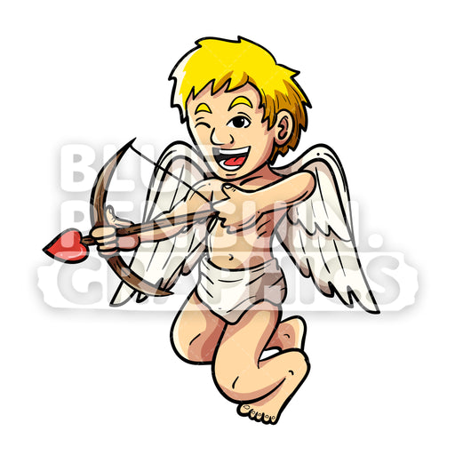 Cupid Flying Vector Cartoon Clipart Illustration - Blue Penguin Graphics