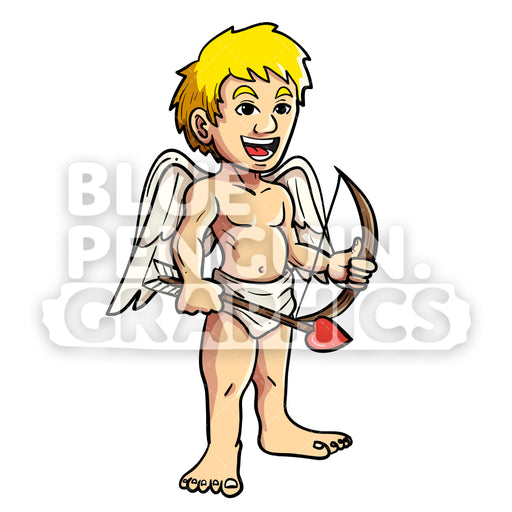 Cupid Standing Smiling Vector Cartoon Clipart Illustration - Blue Penguin Graphics
